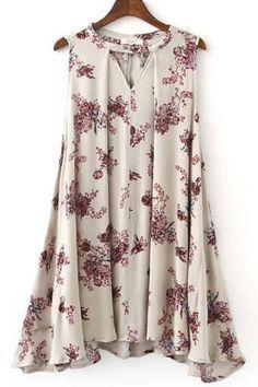 Floral+Print+V+Neck+Sleeveless+Chic+Dress+#Floral+#Dress+#maykool