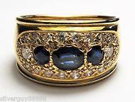 Handmade 18ct Yellow Gold Sapphire and Diamond ring