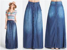 📢 LIQUIDAÇÃO ✂️ DE OUTONO 🍂 Saia longa jeans com botões. De R$ 179 por R$ 119