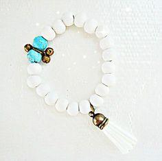 "Boho Beach Style 'Blue Balls"" Bracelet with Bells. $17.95, via Etsy."