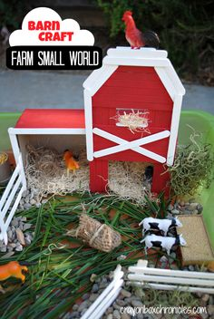 #Farm Small World & Barn Craft by Crayon Box Chronicles.  Barn built from a cereal box, cardboard, and #popsicle sticks.  #recycle