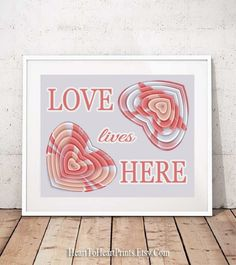 Love Lives Here Printable Wall Art Heart Print Love Wall Art Orange Gray Romantic Family Home Decor Downloadable Love Print Gift for Couple Heart Wall Art, Love Wall Art, Pink Wall Art, Wall Art Prints, Blush Walls, Blue Artwork, Pink Home Decor, Heart Print, Couple Gifts