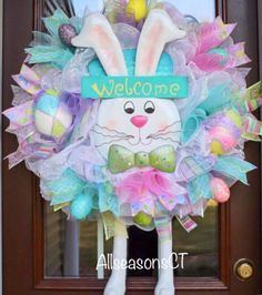 Welcome Easter Bunny Deco Mesh Wreath, Pastel, Pink, Green, Yellow, Blue, Purple, White, Mesh Wreath, Front Door, Decor, Wreath by AllSeasonsCT on Etsy Easy Easter Crafts, Easter Projects, Easter Ideas, Turquoise Wreath, Deco Mesh Wreaths, Door Wreaths, Santa Wreath, Easter Wreaths, Spring Crafts