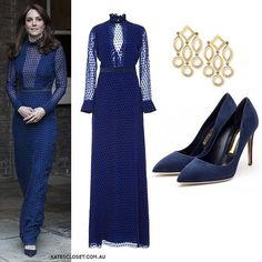 6 April Duchess dazzled at a pre-tour reception wearing a Blue illusion gown Kate Middleton Wedges, Kate Middleton Latest, Kate Middleton Style, Princess Kate Middleton, Kate Middleton Prince William, Cassandra Goad, Royal Dresses, Illusion Dress, Royal Fashion
