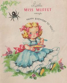 """Unique Hard to Find """"Kittle Miss Muffet"""" Birthday Card and Small Paper Storybook Inside of the Tale of a Small Spider A Girl and Her Lunch by StructureandSpice on Etsy"""