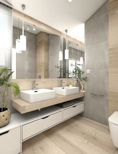 jozefow-lazienki-4 Bathroom Design Luxury, Modern Bathroom Design, Upstairs Bathrooms, Small Bathroom, Marble House, Grey Kitchen Designs, Bathroom Design Inspiration, Luxury Kitchens, Bathroom Furniture
