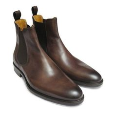 Men Brown genuine leather Chelsea boot,Men leather boot, Men ankle boot #Handmade #AnkleBoots