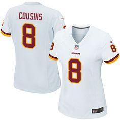 Nike Game Kirk Cousins White Women's Jersey - Washington Redskins #8 NFL Road
