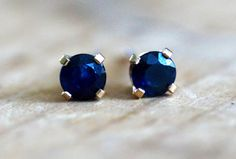 Blue Sapphire Stud Earrings 14 Karat Gold 4 mm September Birthstone Genuine Sapphire Gemstones