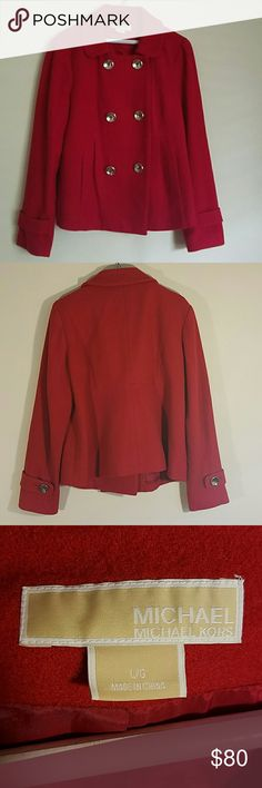 Red wool pea coat by Michael Kors Pristine condition. No snags stains or tears. Clean inside. Message me with any questions MICHAEL Michael Kors Jackets & Coats Pea Coats