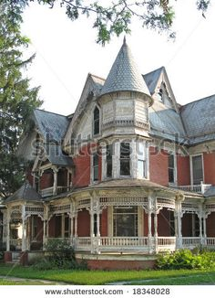 """stock photo : Dilapidated Victorian house appears """"haunted"""" **Wrap around porch."""