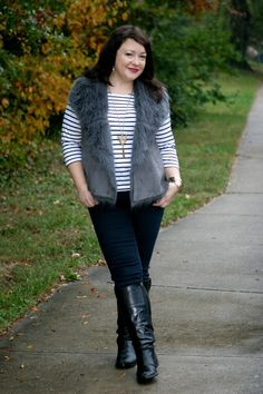 What I Wore: Armorlux striped tee, Karen Kane faux fur vest, and Jag Jeans