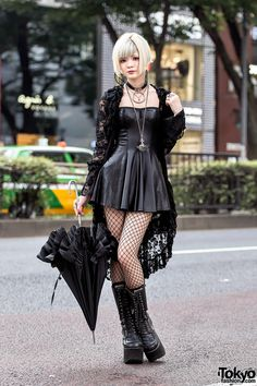 Gothic Harajuku Girl in Black Lace, Mini Dress, Platform Boots & Vivienne Westwood