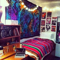 Tapestry with lights || Similar to how I want my dorm room