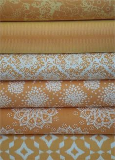 Camelot Cottons, Mint to Be, Orange in FAT QUARTERS 6 Total