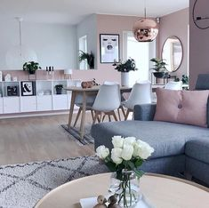 Pink design & Pink living room & Interior design & Pink and white Home Living Room, Apartment Living, Interior Design Living Room, Living Room Designs, Living Area, Living Room Goals, Living Room Decor Inspiration, Elegant Living Room, Modern Living