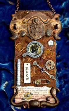 Assemblage ~ Very SteamPunk Collages, Collage Art, Altered Books, Steampunk Accessoires, Pompe A Essence, Steampunk Crafts, Found Object Art, Junk Art, Charms