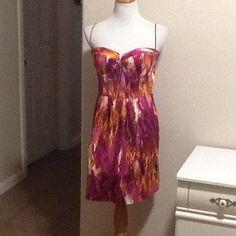Clearance! Pink/Orange Brush Stroke Print Dress