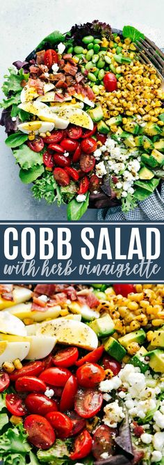 4 Points About Vintage And Standard Elizabethan Cooking Recipes! The Ultimate Best Ever Easy Cobb Salad With A Delicious Tangy Herb Vinaigrette. Chef Salad Recipes, Healthy Salad Recipes, Dinner Recipes, Cooking Recipes, Green Salad Recipes, Clean Eating, Healthy Eating, Cobb Salad Dressing, Caesar Salad