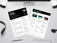 Peter Parker - Free Resume Template with Clear Typography Rules Indesign Resume Template, Best Free Resume Templates, Resume Template Examples, Good Resume Examples, Cv Template, Resume Cv, Resume Design, Cv Design, Graphic Design