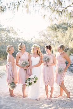 Beach wedding idea. #Bridesmaids in pink.