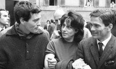 """Franco Citti e Anna Magnani con Pier Paolo Pasolini sul set del film """"Mamma Roma"""""""