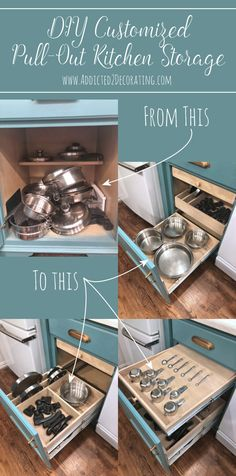 DIY pull-out shelves (Pots & Pans Organization) - Addicted 2 Decorating®DIY Customized Pull-Out Cabinet Organizer for Pots and Pans (and Lids and Much DIY ideas to organize the kitchenDIY organization ideas for the kitchen Pan Organization, Kitchen Cabinet Organization, New Kitchen Cabinets, Diy Cabinets, Cabinet Ideas, Soapstone Kitchen, Kitchen Worktop, Kitchen Backsplash, Kitchen Appliances