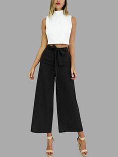 eb91bf0ba87 Black Self-tie Embellished Waist Wide leg Pants - US 19.95