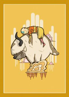 Aang on Appa by senengane