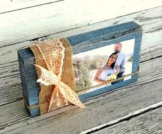 Items similar to Farmhouse Decor Rustic Wood Block Photo Frame, Farmhouse Chic Table Decor Blue Grey cottage Decor Shabby Burlap and Lace Custom Color on Etsy Wood Block Crafts, Wooden Crafts, Wood Blocks, Glass Blocks, Rustic Farmhouse Decor, Rustic Wood, Farmhouse Table, Farmhouse Chic, Rustic Blue