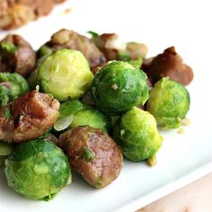 Brussels Sprouts with Chestnuts Sprout Recipes, Vegetable Recipes, Side Dish Recipes, Side Dishes, Chestnut Recipes, Cook N, Sweet Chestnut, Carrot Recipes, Vegetable Sides
