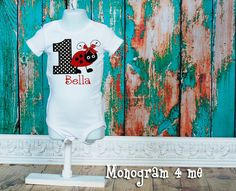 Lady Bug 1st or 2nd Birthday Bodysuit First by monogram4me on Etsy