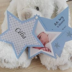 Announce the birth or baptism - Stern - Blau e - Maison de Poupee, # Baby Boy Decorations, Envelopes, Christening Invitations, Bebe Baby, Kids Scrapbook, Twinkle Twinkle Little Star, Welcome Baby, Baby Cards, Kids And Parenting