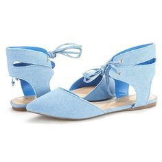 DREAM PAIRS AMIGA Women's Summer Casual Closed Pointy Toe Ankle Cuff Lace Up Ballet Comfort Flats Shoes BLUE DENIM-SZ-11