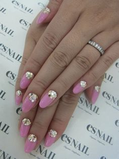 half moon pink nails with bling!