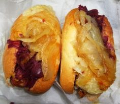 Hallo Berlin - One of the best street foods in the city serving German wursts (not hot dogs). Bratwurst, Knockwurst, Alpenwurst, Currywurst, Hungarian Kielbasa and a few others stuffed into crusty rolls with sauerkraut. They have great German potato salad too. (German wurst stand/Midtown West)