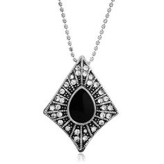 Pugster Vintage Black Drop Stone In Artistic Rhombus Clear Crystal Necklace Pendant Women: Pugster Vintage… Crystal Pendant, Clear Crystal, Crystal Necklace, Vintage Charm Bracelet, Charm Bracelets, Cheap Jewelry, Pendant Earrings, Vintage Black, Jewelry Design