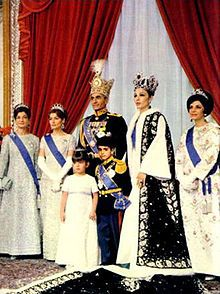 Iran's Imperial Family after the Coronation. From left Princess Ashraf Pahlavi, Princess Shahnaz Pahlavi, SHAH MOHAMMAD REZA PAHLAVI, Empress Farah Pahlavi and Princess Shams Pahlavi. In the middle Princess Farahnaz Pahlavi and Crown Prince Reza Pahlavi.   -- October 26,  1967