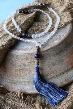 Frosted Quartz Mala Necklace - Made by look4treasures