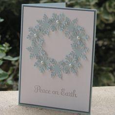 schneeflocken ausstanzer perlen kranz weihnachtskarten selber basteln #weihnachtsdeko #ideen #christmascards