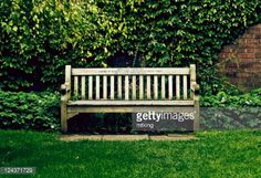 Stock Photo : Wooden bench on grass with green leafy background Outdoor Furniture, Outdoor Decor, Royalty Free Images, Grass, Brick, Stock Photos, Photography, Home Decor, Photograph