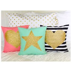 Decorative Throw Pillow Covers - with Gold or Silver Glitter Vinyl Heart or Star - Coral, Light Pink, Mint, Turquoise, Black & White Stripe