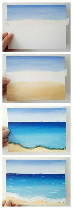 This tutorial for a quick and deceptively simple beach scene painting is a great creative project for the summer. Click through for the steps to paint your own beach! #artideas