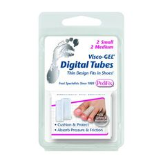 Visco-GEL Toe Tubes -   Soft gel tubes protect toes from pressure and friction and separate toes that rub. Relieve corns, crooked and overlapping toe irritations. Fit comfortably in most footwear. Each package contains one small and one medium tube that fit most toes.