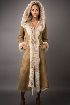 Full Length Hood Shearling Coat