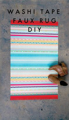 DIY Faux Floor Rug (made from washi tape)! By Amy Anderson.