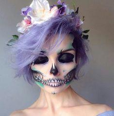 @evatornado floral skull makeup