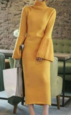 Trumpet sleeve knit sweater -- designer unknown