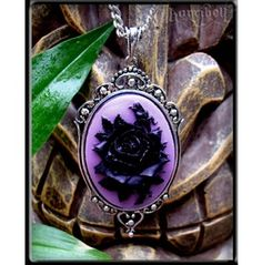 Black & Purple Rose Cameo Necklace