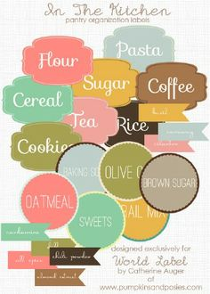 Free kitchen pantry organizing label printables.